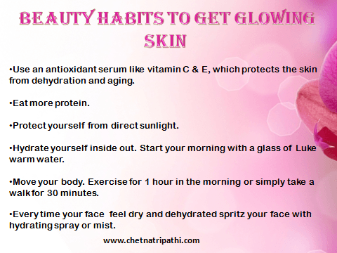 beauty ha bbits to get glowing skin