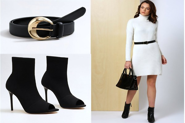 9fd6fa5f99 This Off-white solid knitted sweater dress from  her by Invictus  has a  mock neck
